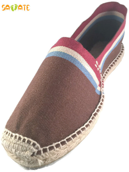 Brown Espadrilles With White Blue And Red Stripes - Savate