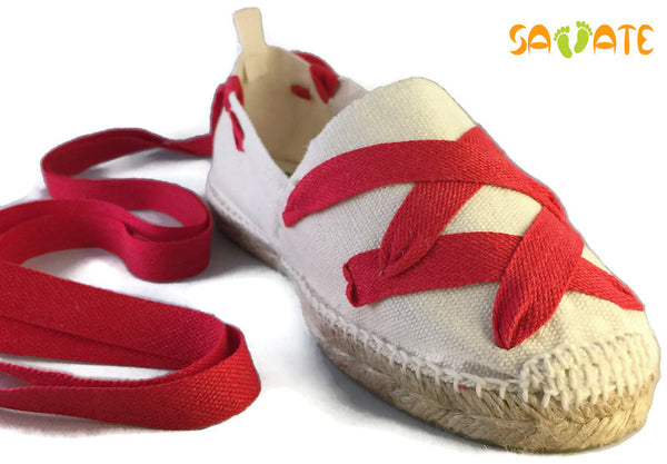 White Espadrilles With Red Laces - Savate