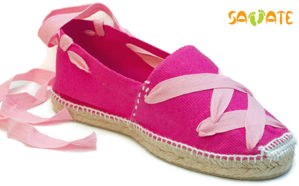 Fuchsia Espadrilles With Pink Laces - Savate