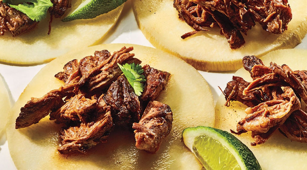 SLOW COOKER BARBACOA & JICAMA TACOS
