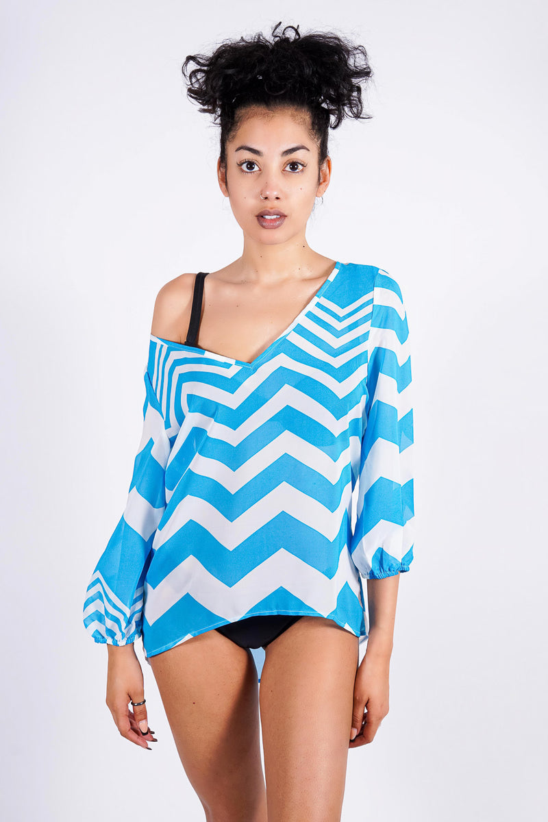 Tammy's tunic, blue/white