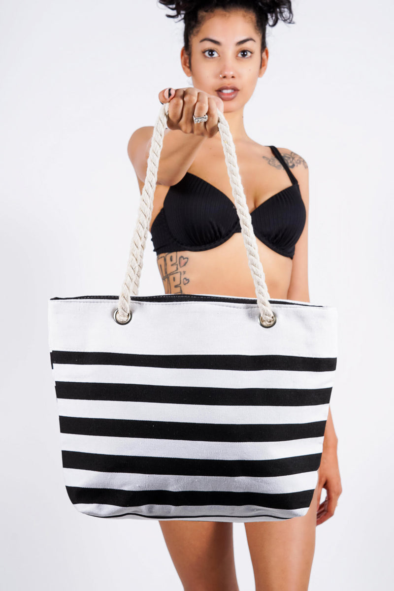 California beach tote, black/white