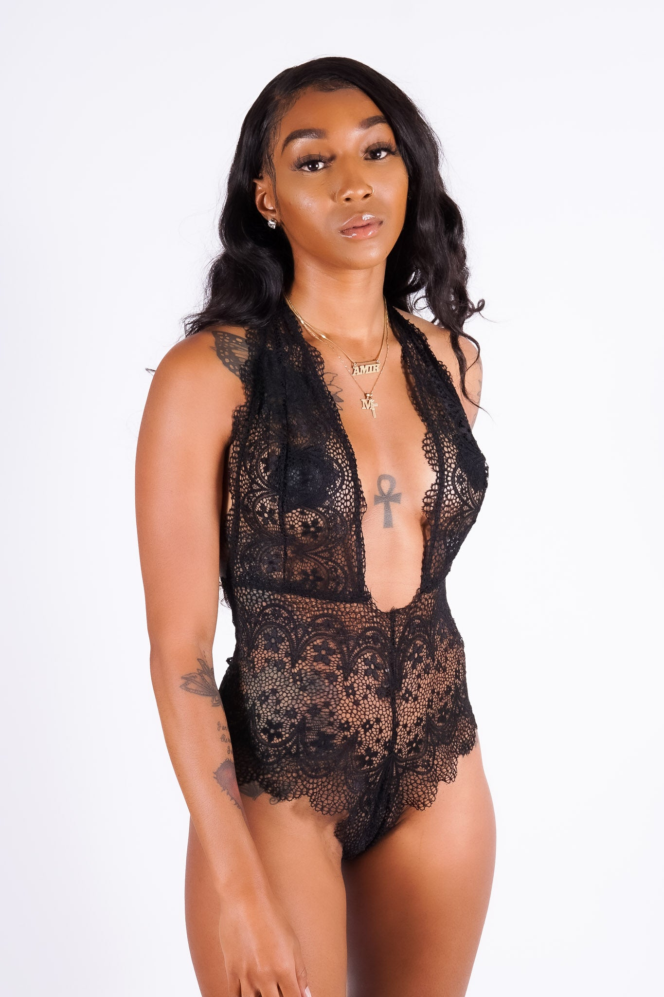 Tara's lace teddy, black
