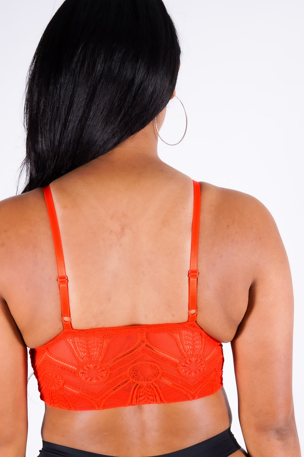 Miesha's lace bralet, red