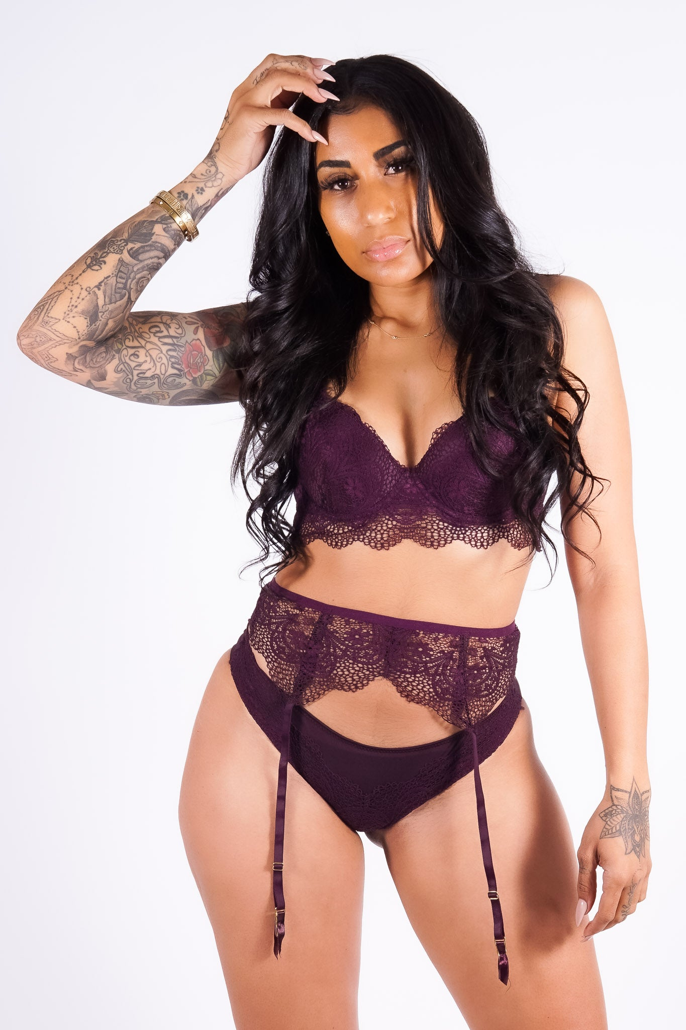 Sabrina's lace bra set, plum