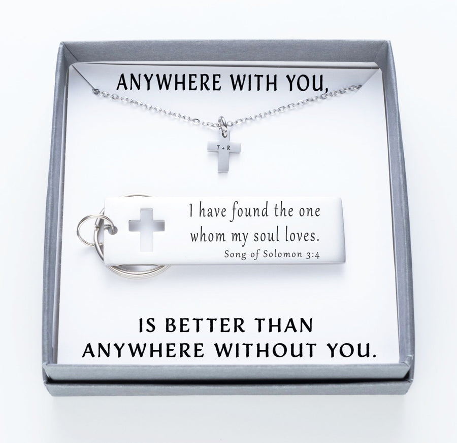 I Have Found The One Whom My Soul Loves Keychain And Cross Necklace Set.  Anywhere With YouQuote Card 020
