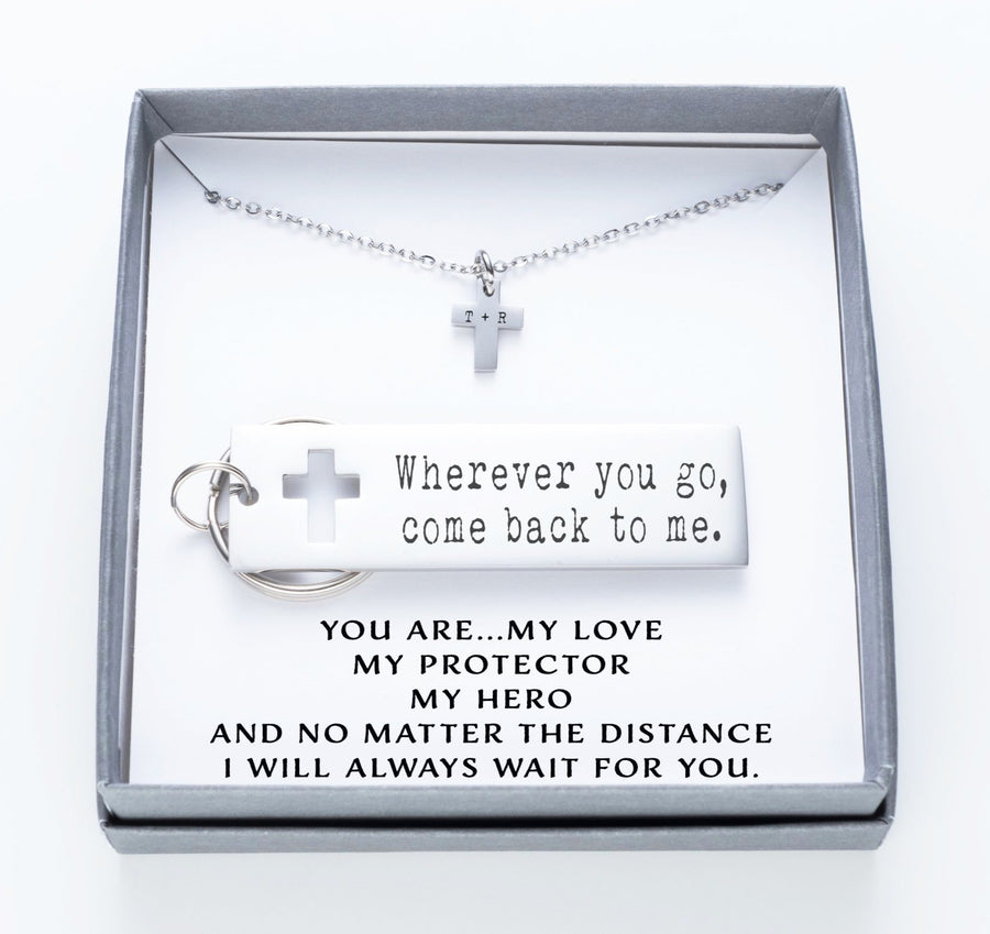 Wherever You Go, Come Back To Me Keychain And Cross Necklace Set.  You Are My Love My Protector Quote Card 020