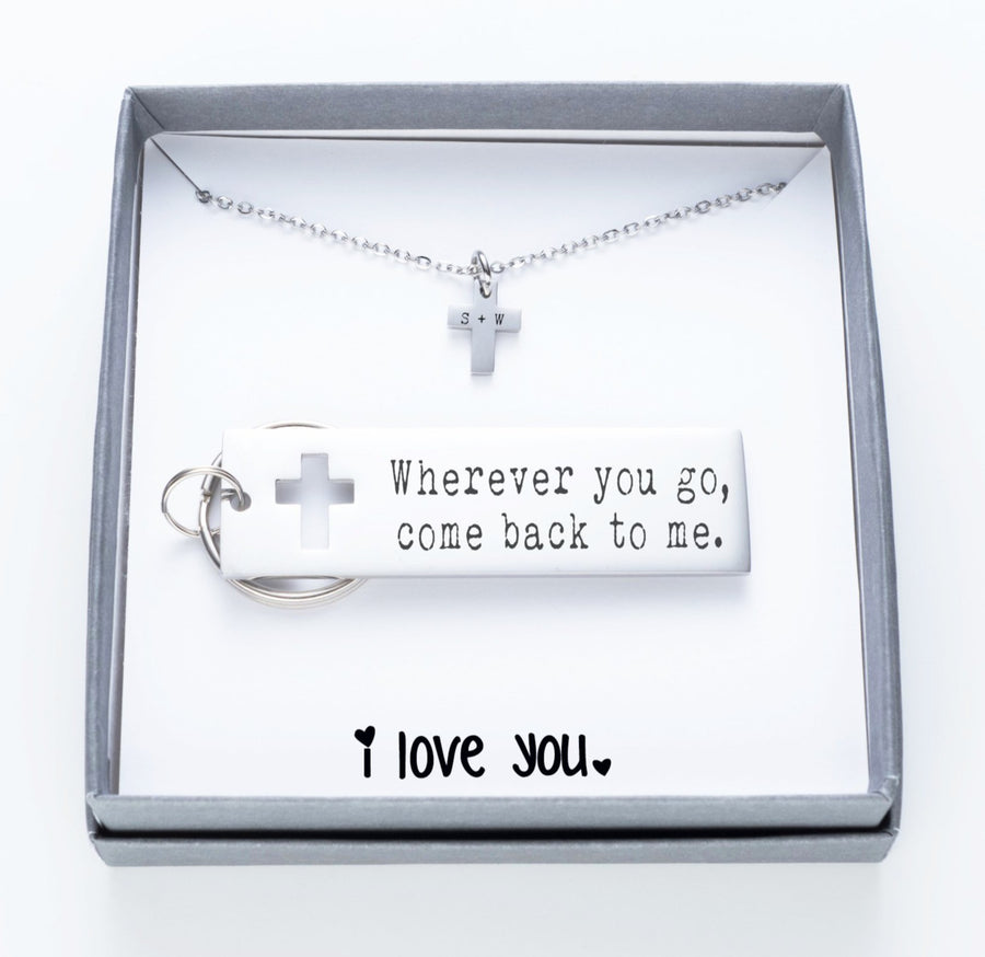 Wherever You Go, Come Back To Me Keychain And Cross Necklace Set.  I Love You Quote Card 020