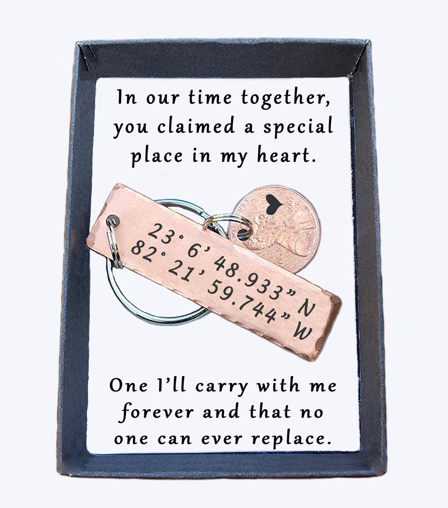 GPS Coordinate Small Keychain With Lucky Penny. In our time together quote card 003