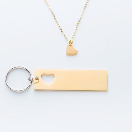 GPS Coordinate Keychain with heart necklace and quote card In our time together
