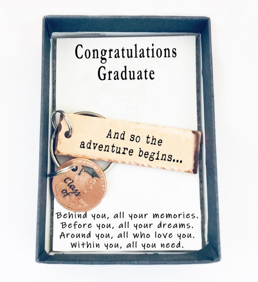 And So The Adventure Begins Small Keychain With Lucky Penny.  Congratulations Graduate quote card 003