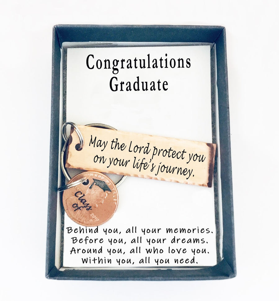 May the Lord protect you on your life's journey Small Keychain With Lucky Penny.  Congratulations Graduate quote card.  003