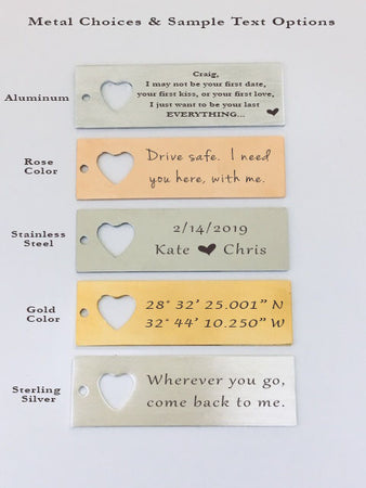 GPS Coordinate Keychain with heart necklace and quote card