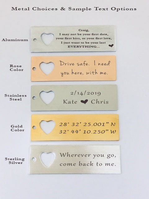 Wherever You Go, Come Back To Me Keychain And Necklace Heart Set.  I Miss You More Quote Card 004