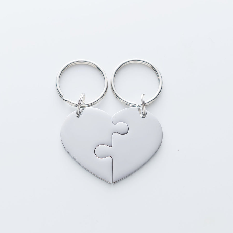 No Matter The Distance.  I Will Always Wait For You Heart Puzzle Piece Keychain Set. The Day I Met You Quote Card. 017
