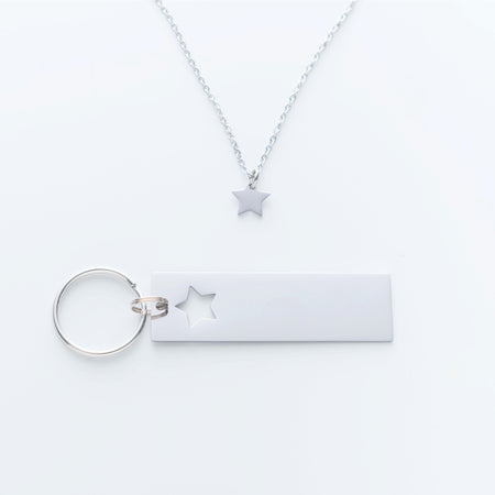 Wherever You Go, Come Back To Me Star Keychain Necklace Combo.  I May Not Get To See You Quote Card