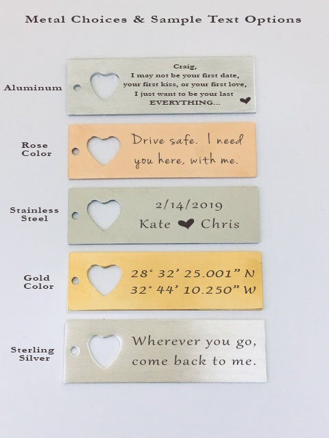 Wherever You Go, Come Back To Me Keychain And Necklace Heart Set. You Are My Happily Ever After Quote Card 004