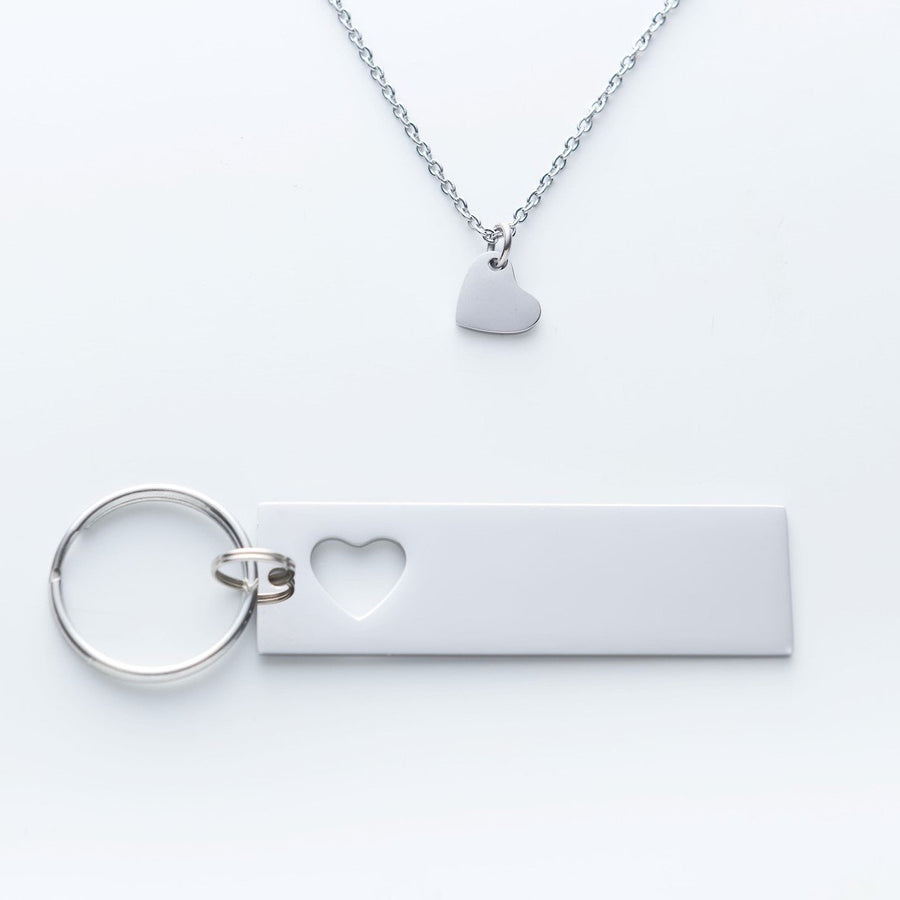 Where It All Began With Coordinates Keychain And Necklace Heart Set.  I May Not Be Your First Date Quote Card 004