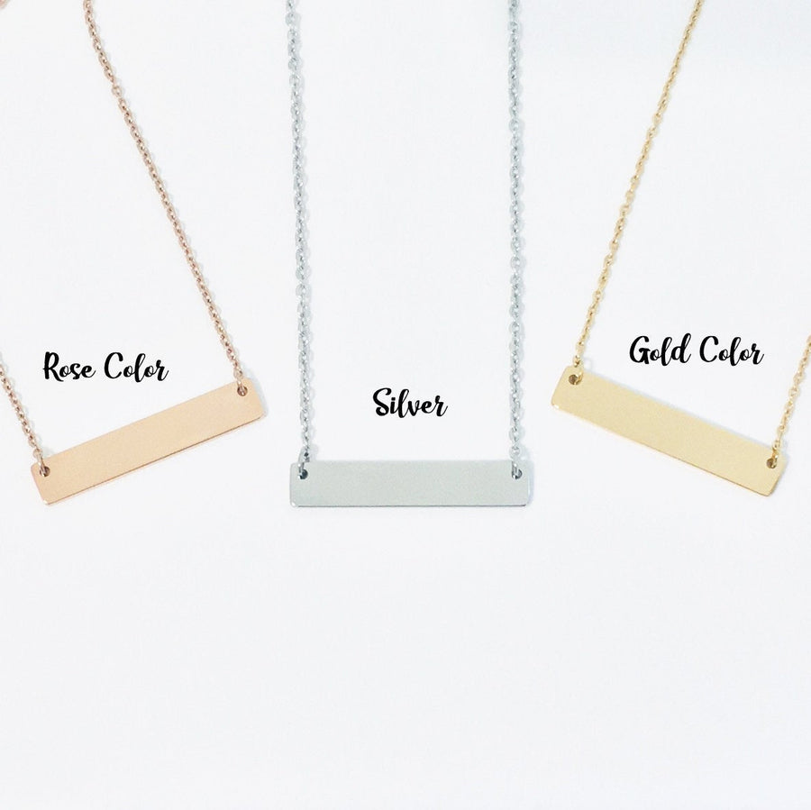 Personalized Bar Necklace.  Congratulations Graduate Quote Card 011