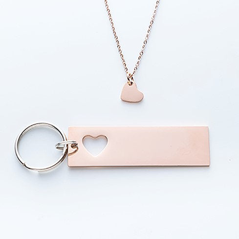 GPS Coordinate Keychain And Heart Necklace Set.  I May Not Get To See You Quote Card 004