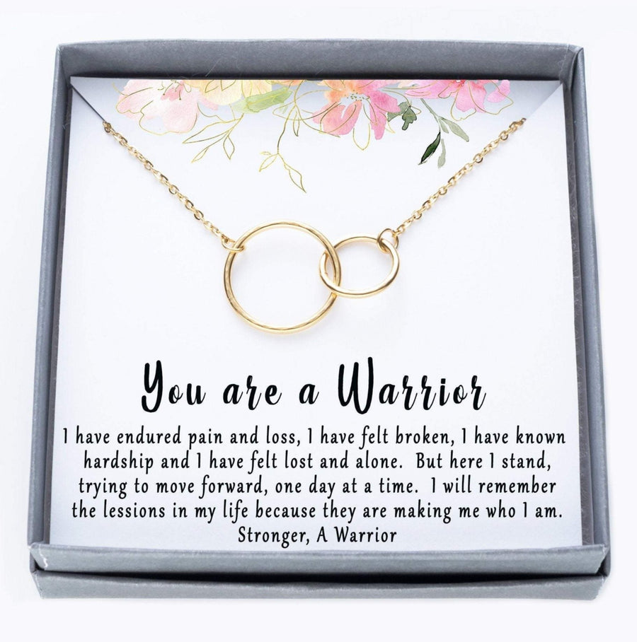 You Are A Warrior Interlocking Ring Necklace.  I have endured pain and loss quote card.  025