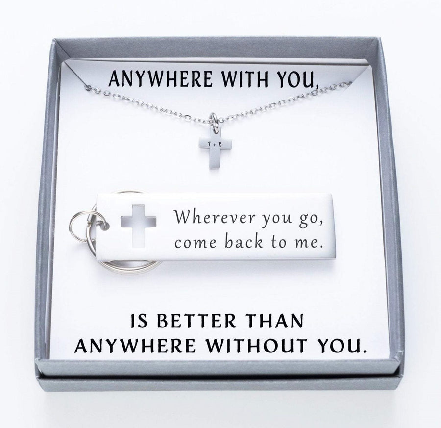 Wherever You Go, Come Back To Me Keychain And Cross Necklace Set.  Anywhere With You Quote Card 020