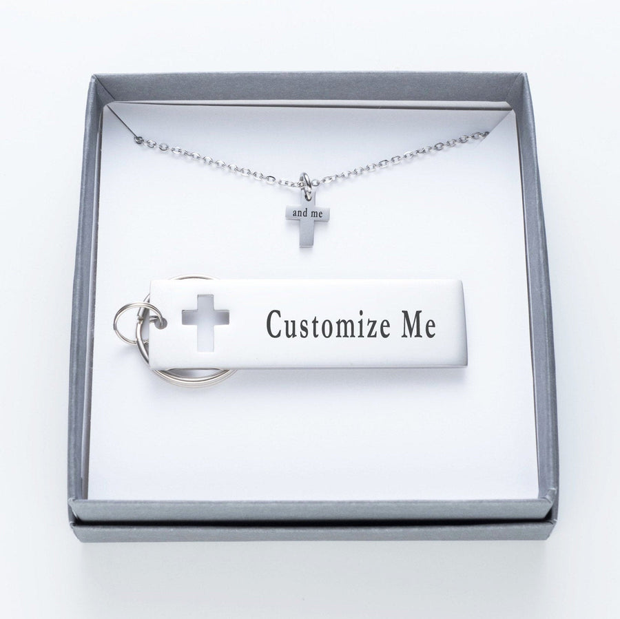 Faith Over Fear Keychain And Cross Necklace Set.  Together We Can Conquer The World Quote Card 020