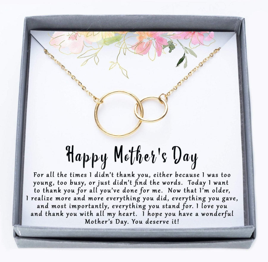 Happy Mothers Day Interlocking Ring Necklace.  For all the times I didn't thank you quote card.  025