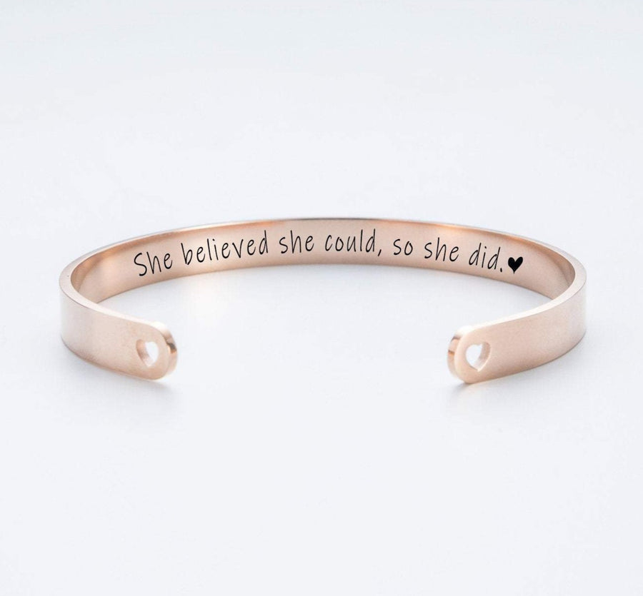 She Believed She Could, So She Did Personalized Cuff Bracelet 019