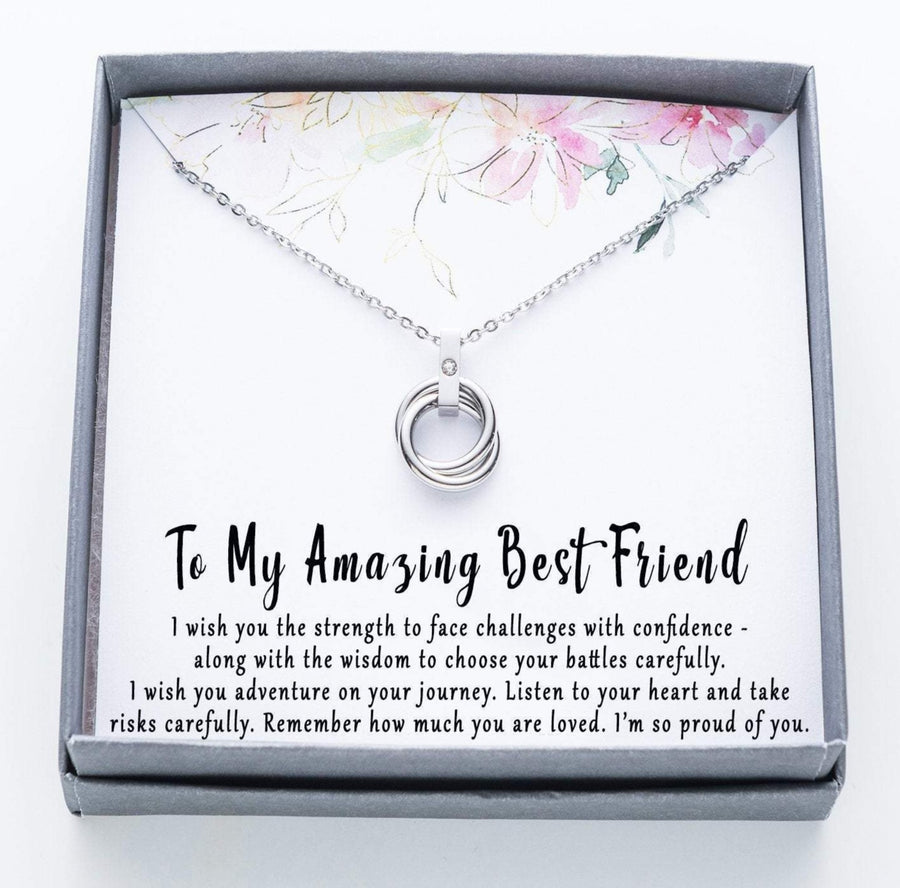 To My Amazing Best Friend Twisted Ring Necklace with Rhinestone.  I wish you the strength quote card.      010