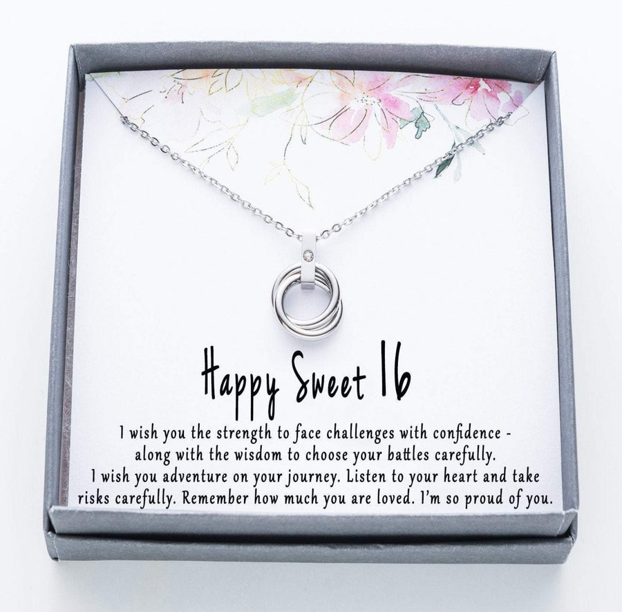 Happy Sweet 16 Twisted Ring Necklace with Rhinestone.  I wish you the strength quote card.  010