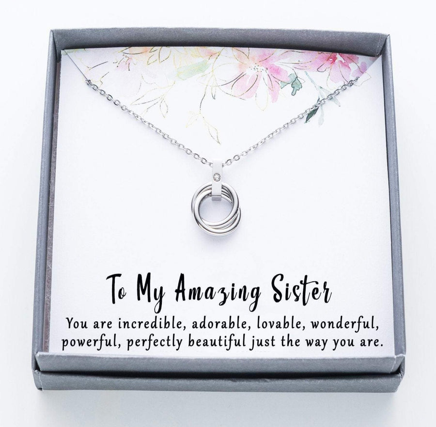 To My Amazing Sister Twisted Ring Necklace with Rhinestone.  You are incredible quote card.  010