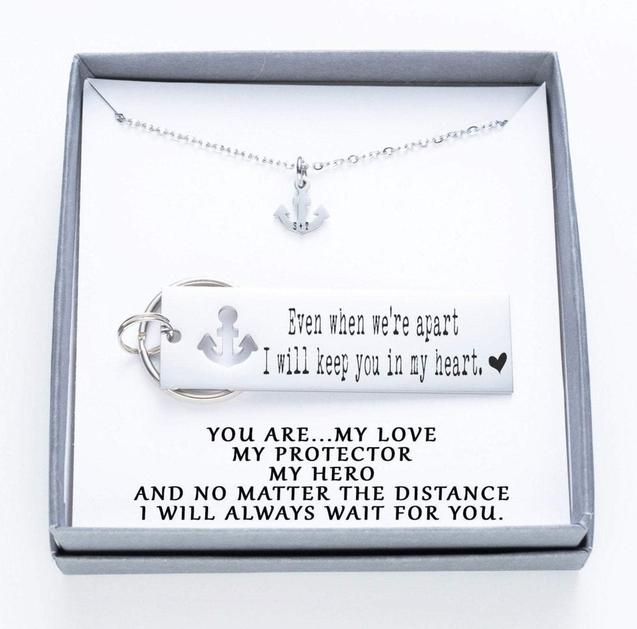 Even When We're Apart I Will Keep You In My Heart Keychain And Anchor Necklace Set.  You Are My Love My Hero 022