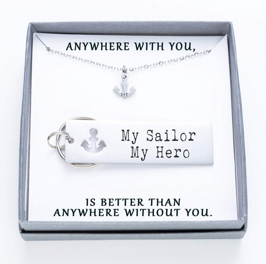 My Sailor My Hero Keychain And Anchor Necklace Set.  Anywhere With You Quote Card 022