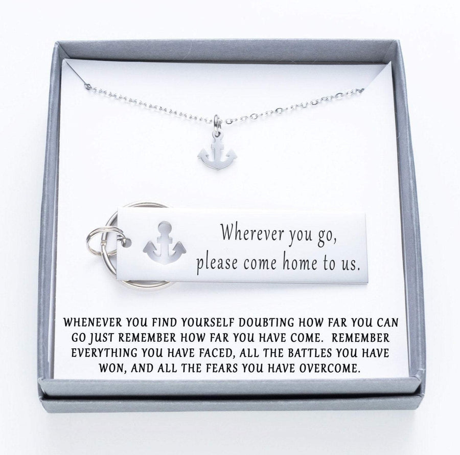 Wherever You Go, Please Come Back To Us Keychain And Anchor Necklace.  Whenever You Find Yourself Doubting Quote Card 022