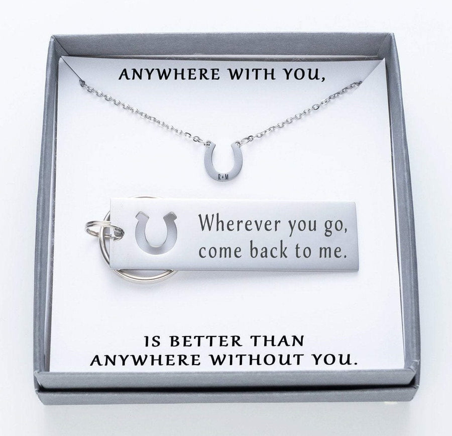 Wherever You Go, Come Back To Me Keychain And Horseshoe Necklace Set.  Anywhere With You Quote Card 024