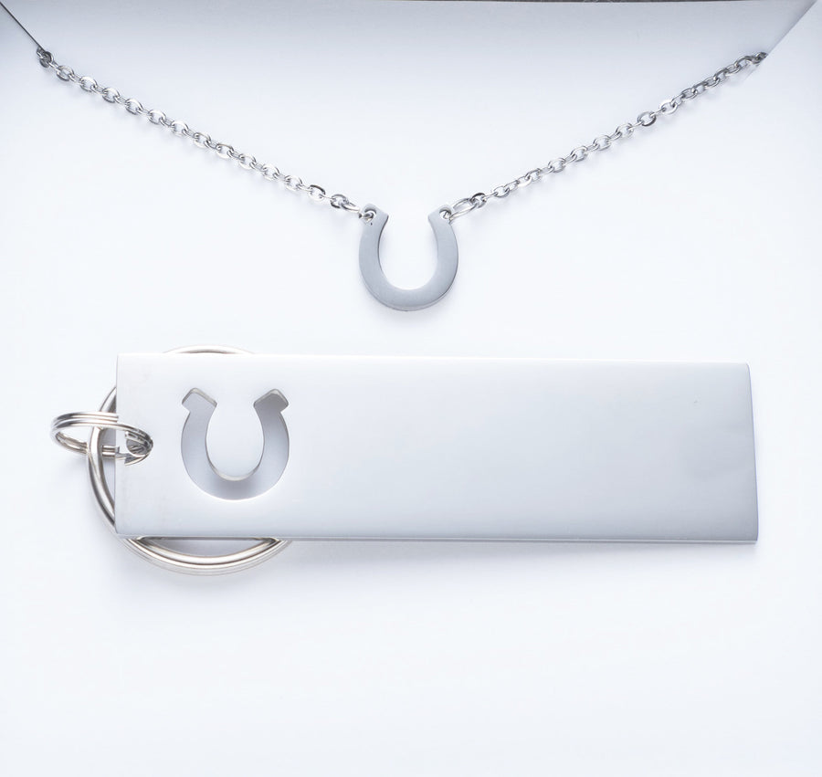 You'll Always Be My Cowboy Keychain And Horseshoe Necklace Set.  024