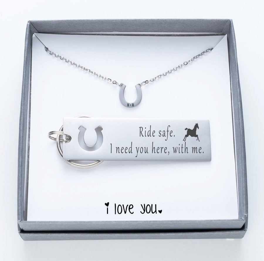 Ride Safe.  I Need You Here With Me Keychain And Horseshoe Necklace Set.  I Love You Quote Card  024