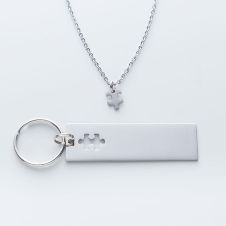 Puzzle Piece Keychain and Necklace Set - You and I fit together like missing puzzle pieces