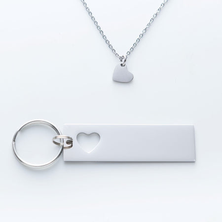 GPS Coordinate Keychain with heart necklace and quote card.  I May Not Be Your First Date