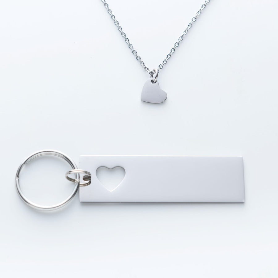 Personalized Custom Keychain And Heart Necklace Set 004