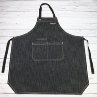 U3009S - CHEF BBQ BLACK Denim Apron| BBQ Apron| Barista Apron| Kitchen Apron |
