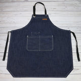 U3009S - CHEF BBQ BLUE Denim Apron| BBQ Apron| Barista Apron| Kitchen Apron |