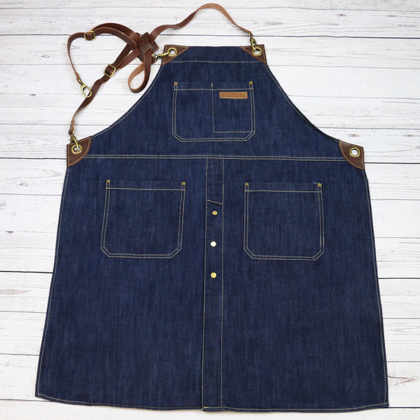 "U352C - Barista ""Denim And Leather"" Bib Apron with Cross-Back Leather Straps"