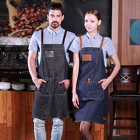 leather handmade denim apron, barista apron, chef apron for cooking, gardening, crafting, tattoo artists, bartenders, baristas, chefs, hair stylists, etc. Personalized gifts for a birthday, wedding, Mother's Day, Father's day ,anniversary or housewarming. Embriodered aprons, Barista apron, BBQ apron, Grill apron, Barber apron, Chef apron
