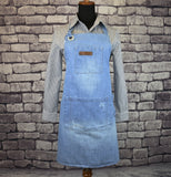 Light Blue Distressed Denim Barista Bib Apron 3039