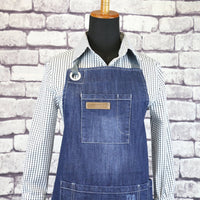 SMART Distressed BLUE Denim Barista Apron 3039
