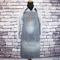 SMART Distressed LIGHT GREY Denim Barista Apron