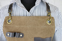 Khaki Canvas & Leather Coffee Barista Apron | Denim Apron | Chef Apron | U357
