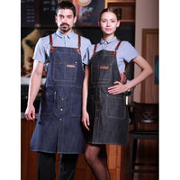 Leather denim apron, barista apron, chef apron for cooking, gardening, crafting, tattoo artists, bartenders, baristas, chefs, hair stylists, etc. Personalized gifts for a birthday, wedding, Mother's Day, Father's day ,anniversary or housewarming. Embriodered aprons, Barista apron, BBQ apron, Grill apron, Barber apron, Chef apron